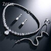 ZAKOL Luxury Brilliant Clear Waterdrop & Round Cubic Zirconia Earring Necklace Set For Bridal Wedding Jewelry Set FSSP004