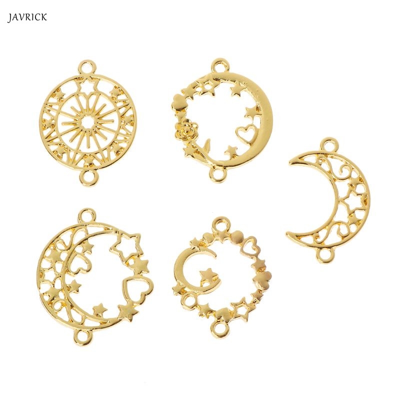 5Pcs Moon Star Metal Frame Connector Bezel Blank Setting UV Resin Jewelry Making Accessories
