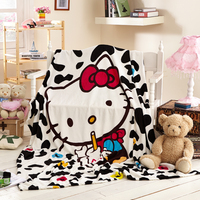 Hot Sale Milk Color Hello Kitty Blanket For Adult Kids Cartoon Blanket Throw On The Bed