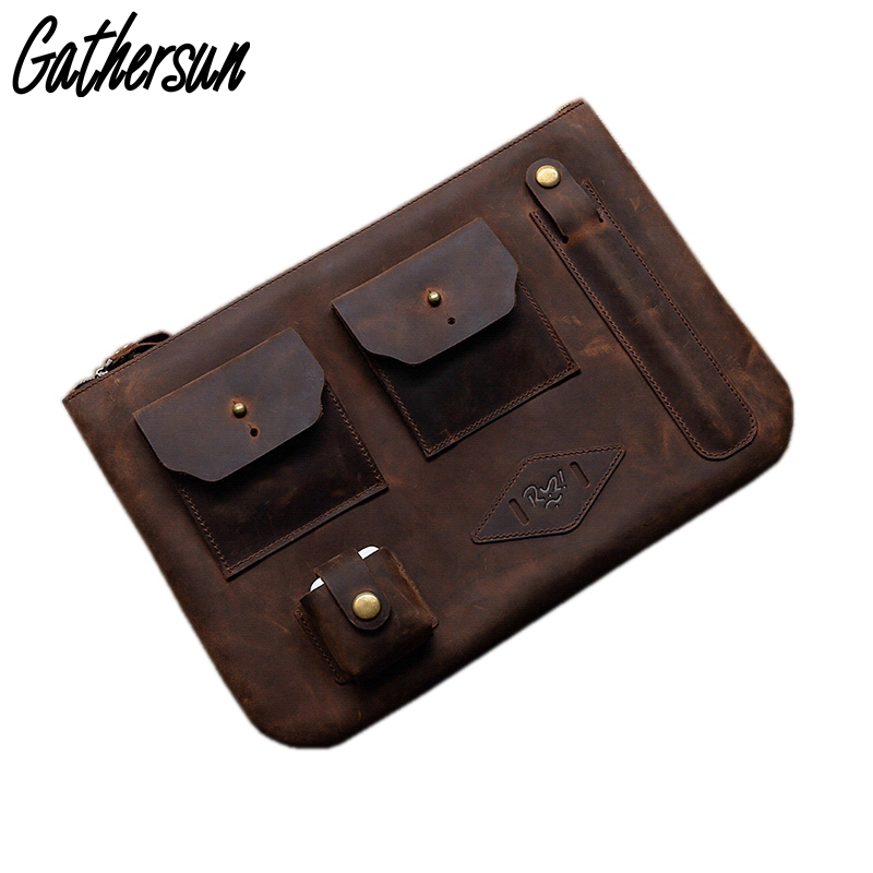 Leather Laptop Case 12 inch Men Crazy horse Leather Case for Tablet PC Personalized Men Leather Vintage Clutch Bags for iPad цена и фото