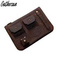 Leather Laptop Case 12 inch Men Crazy horse Leather Case for Tablet PC Personalized Men Leather Vintage Clutch Bags for iPad