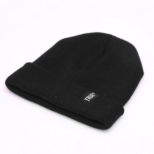 True Beanies for Men Women Knitted Winter Hat Solid Color Hip-hop Skullies Hat Bonnet Unisex