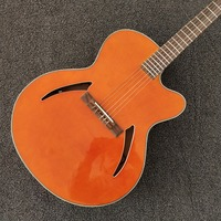 New Arrival 6 strings Orange Color guitar,Red Back and Side,Side Pickup,Hollow Body,Free shipping