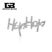 Clear Rhinestone Handmade Jewelry Hip Hop  Brooch Pin for Fans FREE SHIPPING