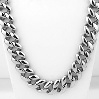 21mm Cool Huge 316L Stainless Steel Silver Polished Cut Cuban Curb Link Chain Men's Necklace Hot Jewelry 23.6 Christmas Gift