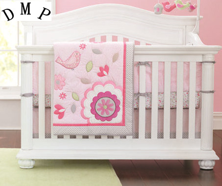 Promotion! 7pcs Embroidery flower kids 100% cotton baby crib bedding set cot bedding,include (bumpers+duvet+bed cover+bed skirt) promotion 6pcs baby bedding set cot crib bedding set baby bed baby cot sets include 4bumpers sheet pillow