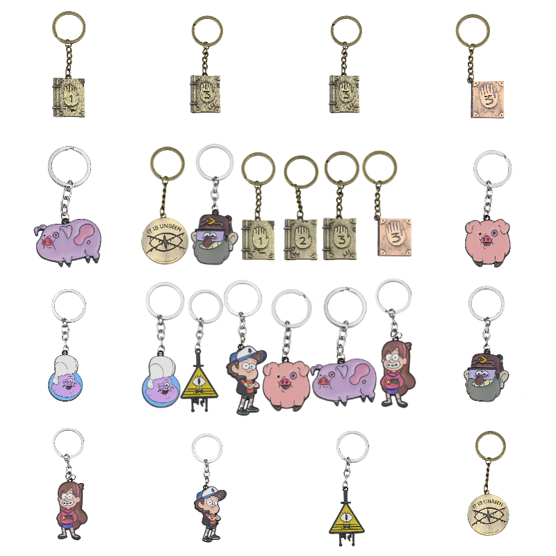 Fashion Gravity Falls Keychain For Students Cute Cartoon Round Pendant Key Chains For Boys Girls Gifts Anime Key Rings