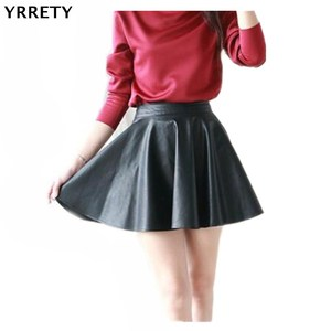 YRRETY Leather Skirts High Waist Womens Skirt Women Casual Mini Skirts Elastic Waist Pleated Female Color Black Skirt XS/ S/M/L