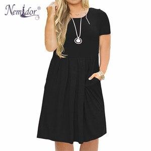 Image 1 - Nemidor 2019 Frauen Solide Oansatz Kurzarm Casual T shirt Kleid Plus Größe 7XL 8XL 9XL Midi Plissee Schaukel Kleid Mit taschen
