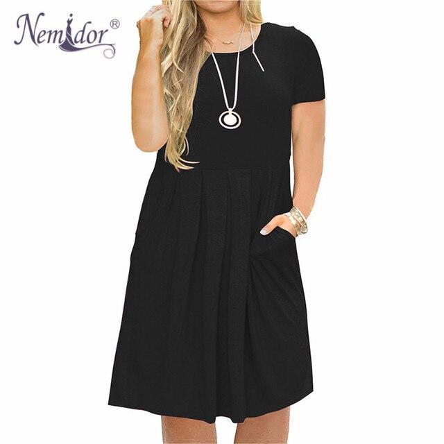 Nemidor 2019 Frauen Solide Oansatz Kurzarm Casual T shirt Kleid Plus Größe 7XL 8XL 9XL Midi Plissee Schaukel Kleid Mit taschen