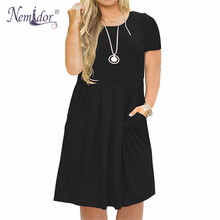 Nemidor 2019 Women Solid O neck Short Sleeve Casual T shirt Dress Plus Size 7XL 8XL 9XL Midi Pleated Swing Dress With Pockets