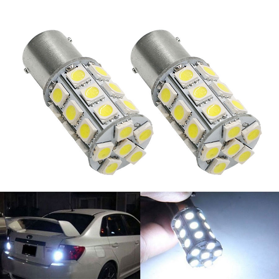 2PCS 1156 BA15S 27 SMD 5050 DC12V LED Light Bulb Brake Turn Signal Backup Reverse Bulb Car Light Source White/Yellow/Red merdia 1157 22 x smd 1206 led blue light car brake backup light 2 pcs