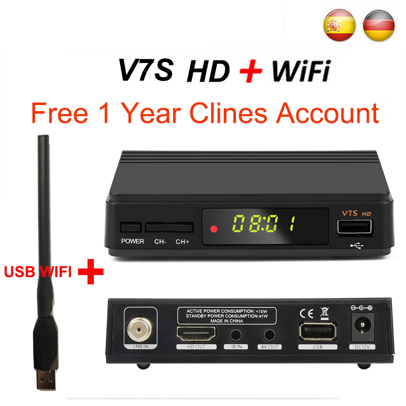 DVB S2 Satellite TV Receiver decoder V7S HD DVB-S2 +USB Wfi with 1 Year Europe Cline account support Spain HD powervu LNB TV Box hellobox gsky v7 5pcs hd powervu autoroll iks ccam dvb s2 receiver tv box better than freesat support tandberg patch