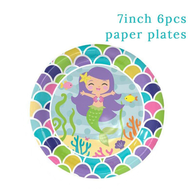 6pcs 7inch Plates Mermaid party plates 5c64f5cb309a9