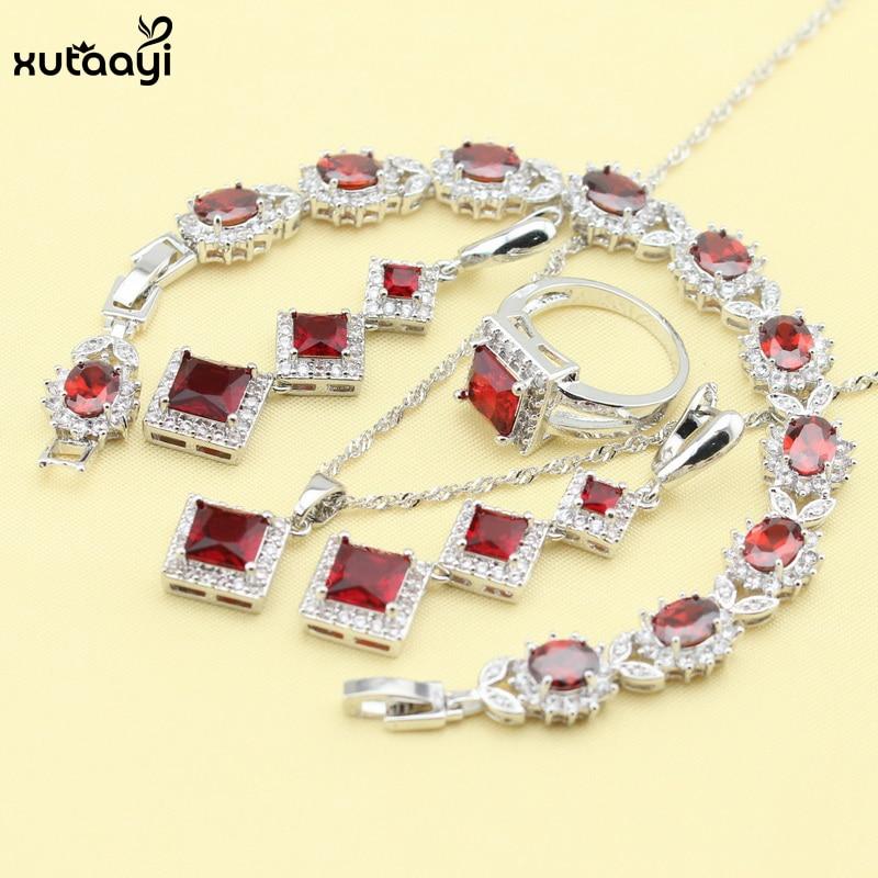 XUTAAYI серебряные Ювелирные наборы Красный синтетический гранат превосходное ожерелье/кольца/серьги/браслет для женщин Бесплатный подарок