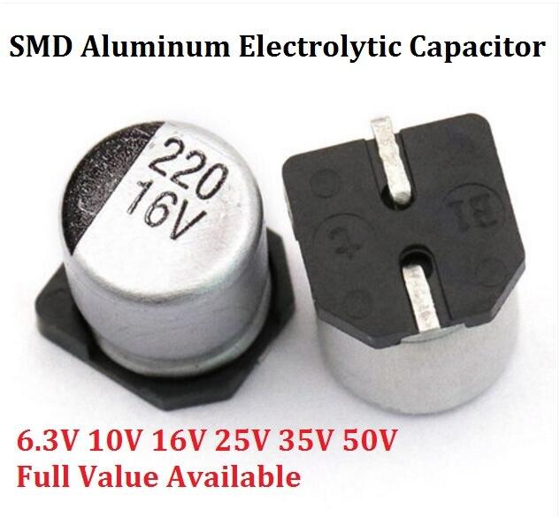10 stücke SMD 10 V 16 V 25 V 35 V 47 UF 50 V 100 UF 220 UF 470 UF 100 0 UF 10 UF 22 UF 330 UF 2200 UF 150 UF aluminium-elektrolytkondensator