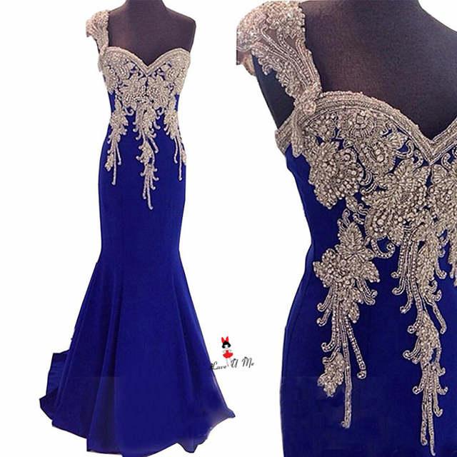 Online Shop Silver Beaded Royal Blue Evening Dresses Long Mermaid one  Shoulder Elegant Prom Dress Robe de Soiree Longue Women Formal Party  67bb17acfacc