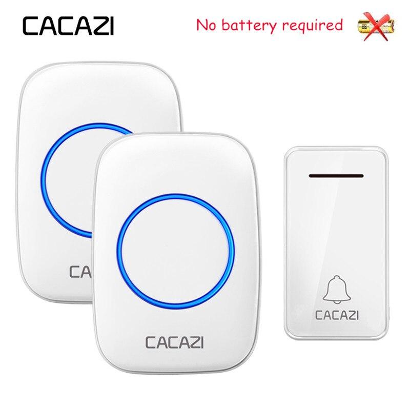 CACAZI Sans Fil Sonnette Auto-alimenté Pas de batterie Étanche LED lumière US, UK, EU Plug Accueil Sans Fil Sonnette 1 Bouton 1 2 récepteur