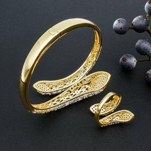 Image 4 - Modemangel Luxe Merk Super Aaa Zirconia Koperen Bangle Ring Set Jurk Engagement Party Wedding Bridal Jewelry Voor Vrouwen