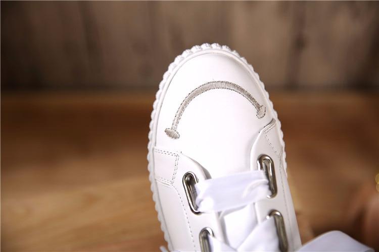 Redonda De Estilo Punta Deporte White Genuino Las Plaza Mujeres Británico Cuero Gratis Blanco Zapato Zapatillas Agujeros Real Zapatos Envío xqtC10BwFW