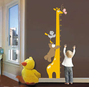 Removable Cartoon Giraffe Children Kid Growth Height Chart PVC Wall Sticker