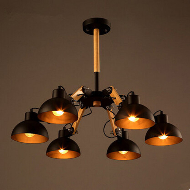 Wood Retro Classic Ceiling Hanging Lamp Industrial Vintage Lights With 6 Adjusted For Livingroom