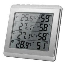 Digitale Indoor/Outdoor Thermometer Hygrometer Vier kanaals Temperatuur Vochtigheid Meter met 3 Outdoor Zender Comfort Niveau