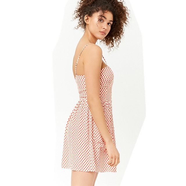 VANLED Vestidos Verano New2018 Summer Dress Women Spaghetti Strap Pocket Single-Breasted Red Dot Strapless Sexy Mini Women Dress