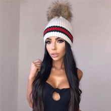 New Women Ladies Winter Warm Chunky Knit Cap With Double Fur Pom Pom Beanie Hat цены