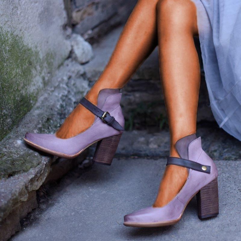 Vintage Mature Women Pumps Classic Patent Leather High Heels Shoes Wedding Dress Shoes