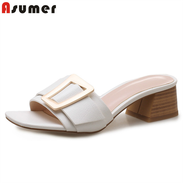 ASUMER 2019 New arrive high quality pu leather women sandals 4cm square heel buckle summer mules for women ladies dress shoes