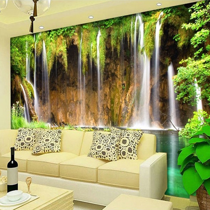 Custom Mural Wallpaper Non-woven Wall Decorations Living Room Sofa Bedroom Backdrop Wallpaper Wall Paper 3D Landscape Waterfall custom 3d stereoscopic large mural wallpaper wall paper living room tv backdrop of chinese landscape painting style classic