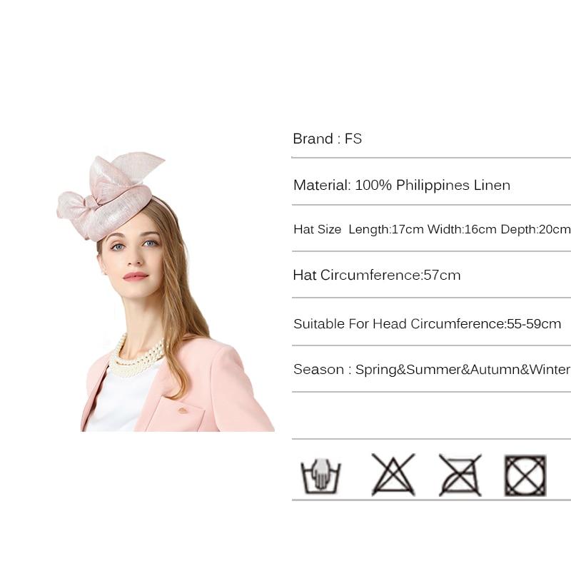 65b2408f1 FS Fascinator Hats For Women Elegant Winter Pink Big Bowknot Linen...