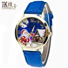 New Year fashionable Santa Claus design watch boys and girls student watch ladies watch Quartz watch  Christmas gift