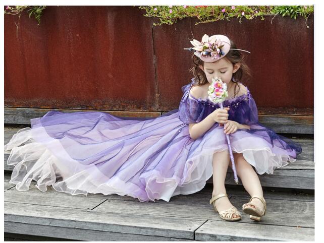 Girls Wedding Formal Dresses 2018 Off-Shoulder Tailing Catwalk Gauze Flowers Girls Princess Dress Kids Long Party Dress Purple