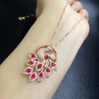 Qi Xuan_Trendy Jewelry_Red Stone Pretty Peacock Woman Necklaces_Rose Gold Color Fashion Necklaces_Manufacturer Directly Sales