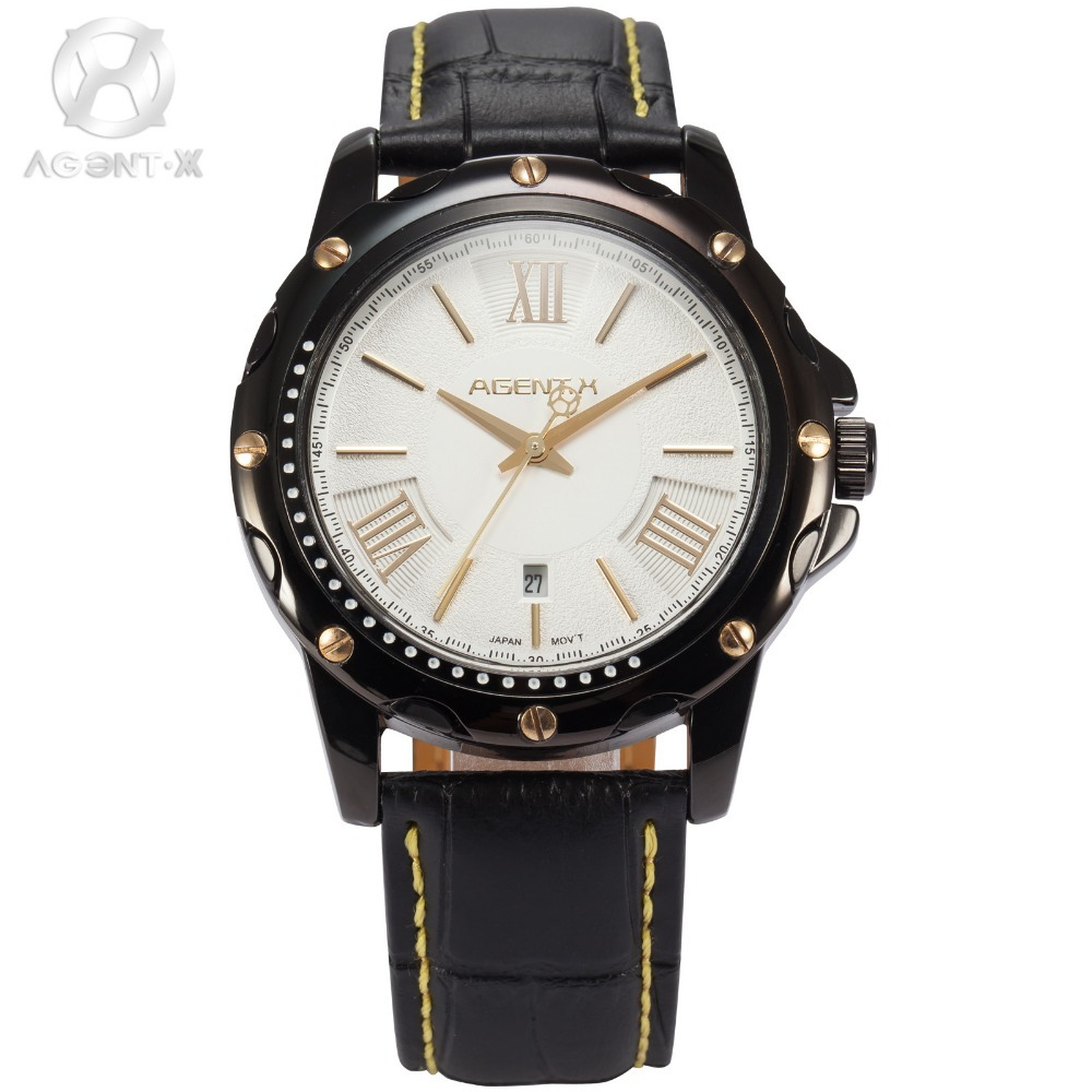 AGENTX Luxury Brand Mens Wristwatch Auto Date Display White Gold Dial Analog Leather Band Clock Men Quartz Casual Watch / AGX117 agentx luxury brand calendar display casual relogio white dial analog black leather strap clock wrist men quartz watch agx116