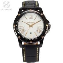 AGENTX Luxury Brand Mens Wristwatch Auto Date Display White Gold Dial Analog Leather Band Clock Men Quartz Casual Watch / AGX117
