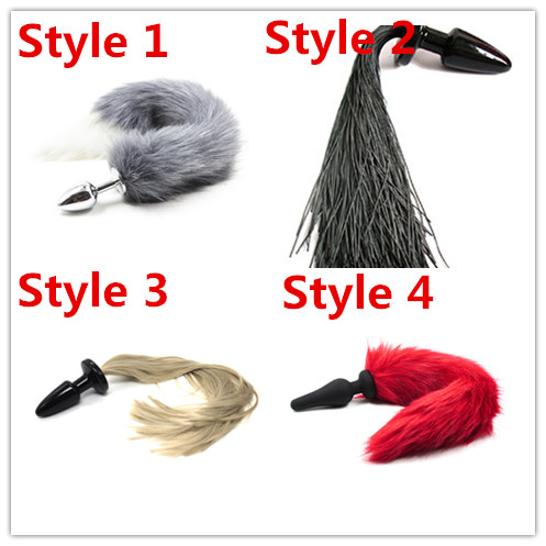 4 Style Choose Butt Plug Horse / Fox Tail Anal Plug Adults Sex Toys Sexy Tail Pony Cosplay Toys Tail Fancy Fetish Pet Games ...