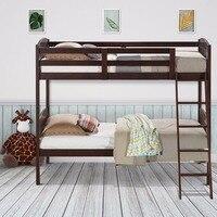Giantex деревянный из твердых пород древесины двойная койка кровати конвертационные дети лестница безопасности рельс мебель для дома HW58907 +