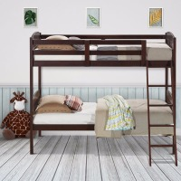 Giantex Wood Solid Hardwood Twin Bunk Beds Convertable Kids Ladder Safety Rail Home Furniture HW58907+
