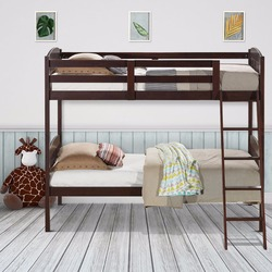 6a8c7aac45cb9 Giantex Wood Solid Hardwood Twin Bunk Beds Convertable Kids Ladder Safety  Rail Home Furniture HW58907+