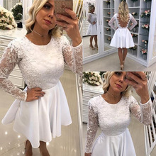summer see through long sleeve backless sexy lace flower dresses party night club new arrival white formal dress women elegant