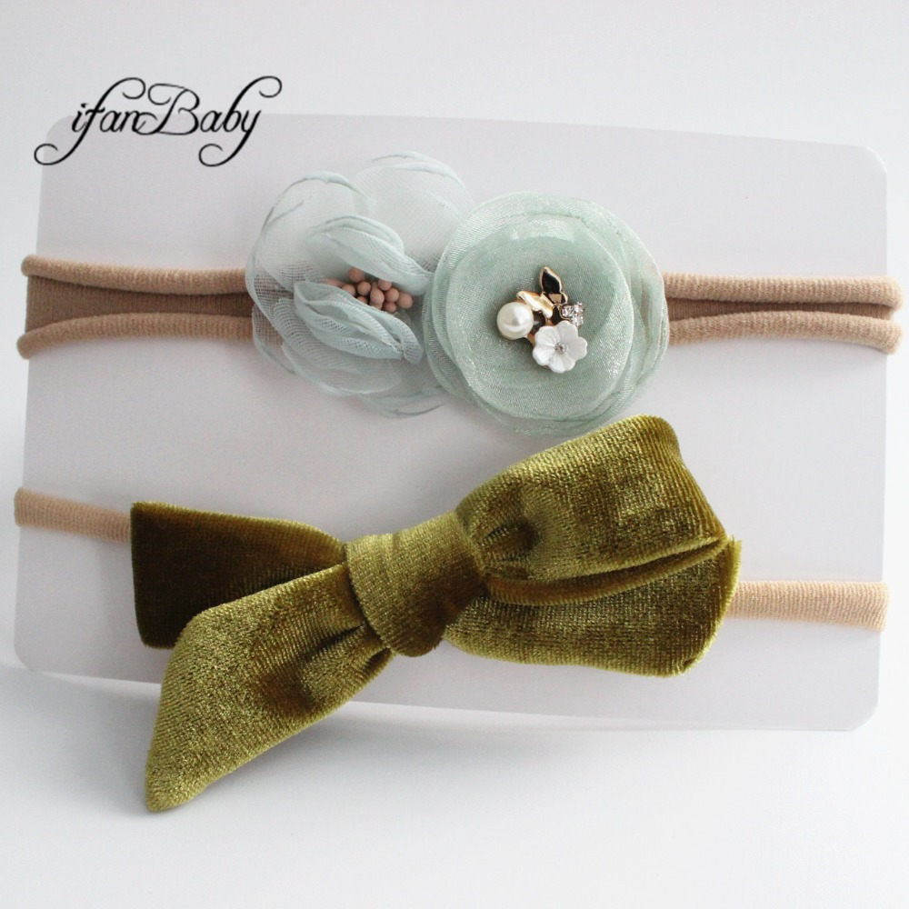 kids girl fabric flower headband nylon headband (15)