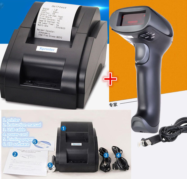 Проводной сканер + pos принтер черно-белый Оптовая Высокое качество 58 мм тепловая чековый принтер машина USB интерфейс