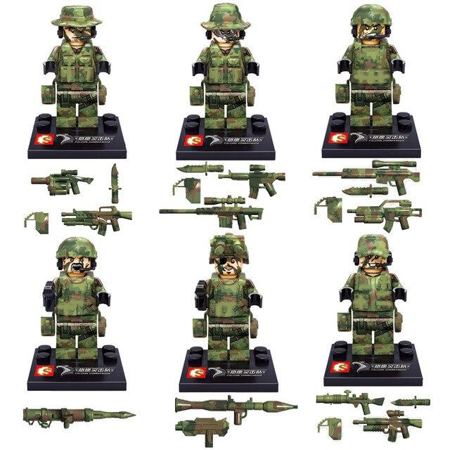 Wholesale 30pcs/lot LegoINGlys SWAT Military Minifigure Set with Gun Weapon Building Blocks Bricks Toys for Children Kids Gift