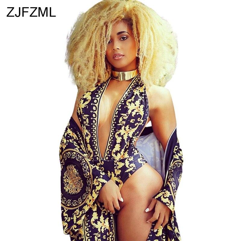 ZJFZML Hot fashion design 2018 sexy 2 pezzi delle donne set scollo a v sexy pagliaccetti di stampa e novità abbigliamento da spiaggia lungo maxi cappotto