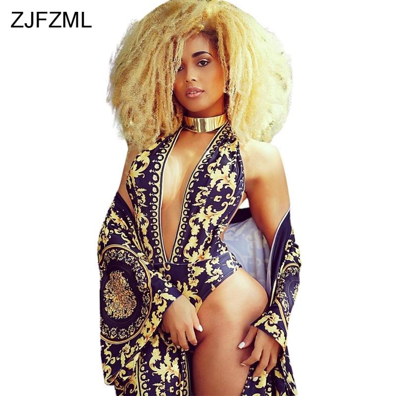 ZJFZML Hot fashion design 2018 sexy 2 stuks vrouwen sets v-hals sexy print rompertjes en nieuwigheid strand dragen lange maxi jas