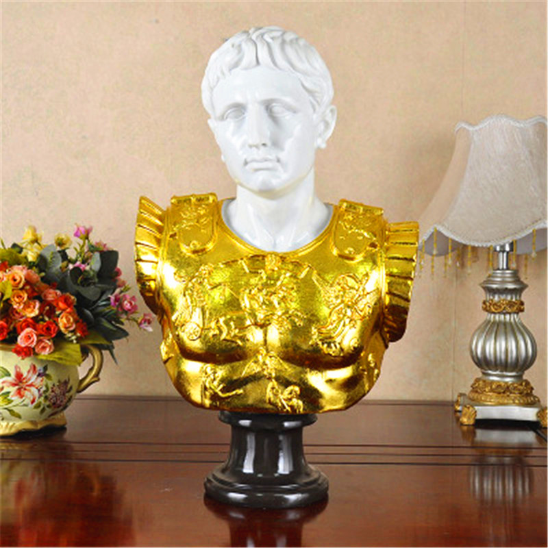 Roman Emperor Gaius Octavius Augustus Bust Retro Statue Colophony Crafts Desktop Decoration Office G1033 image
