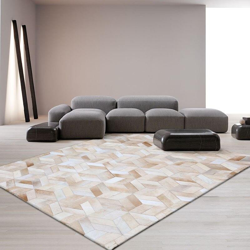 Style moderne luxe peau de vache fourrure patchwork tapis vraie peau de vache tapis géométrique pour salon décoration villa tapis